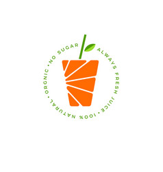 orange juice logo fresh vector image
