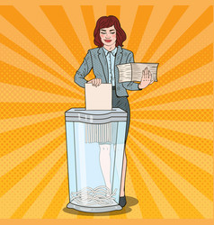 pop art business woman utilises paper documents vector image vector image