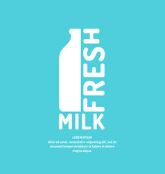 Poster fresh milk with a bottle and text vector