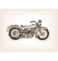 Retro motorcycle hand drawn sketch vector
