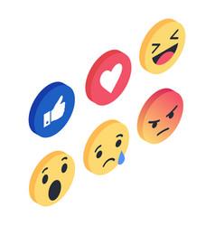 set isometric emoji reactions like social vector image vector image