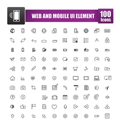 Set of 100 icon for web and mobile smart phone ui vector image vector image