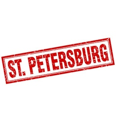 St petersburg red square grunge stamp on white vector