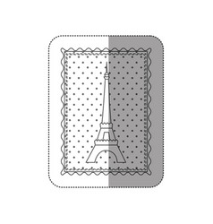 Sticker contour frame of eiffel tower with vector