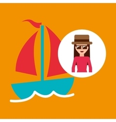 Toursit female hat sunglasses sailboat vector