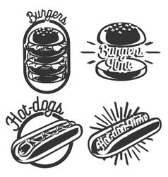 Vintage fast food emblems vector image vector image