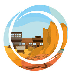 Western village with round abstract symbol vector