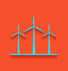 Wind turbines sign whitish icon on brick vector