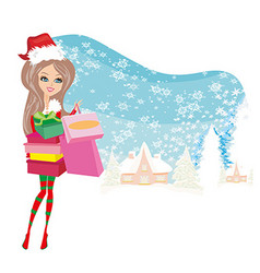 Winter girl with gift box vector