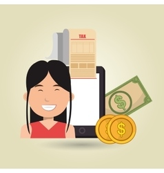 Woman smartphone taxes money vector