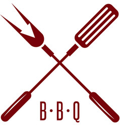 Bbq tools with arrow simple icon design template vector