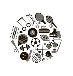 sport icon signs and symbols black round design vector image