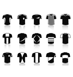 Black t-shirt soccer clothing icons set vector