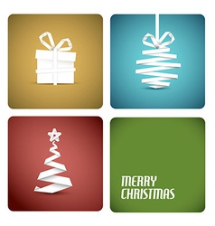 Christmas decoration made from white paper stripes vector