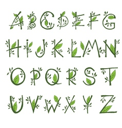 hand draw font in the form of branches and leaves vector image