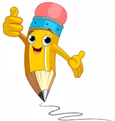 Pencil character giving thumbs up vector