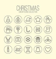 Christmas Linear Icons vector image