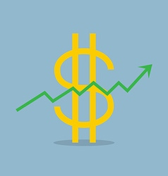 Stock raise up high with dollar sign vector