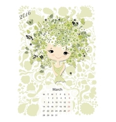 Calendar 2016 marchmonth season girls design vector
