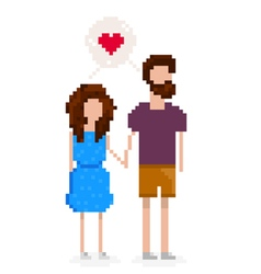 Hipster couple is in love and holding hands vector image