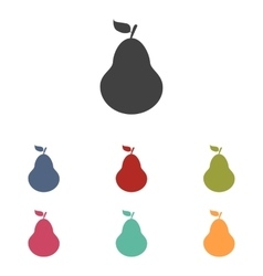 Fruit pear icons set vector