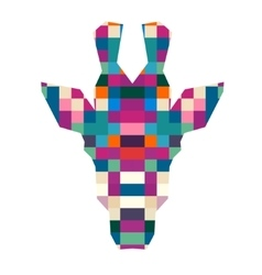 Animal head giraffe triangular pixel icon vector