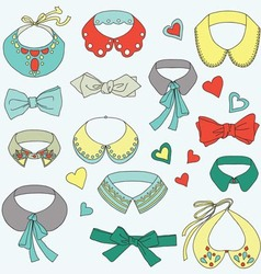 Fashion collar and bow tie set vector