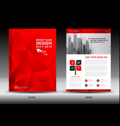 Annual report brochure flyer template red cover vector