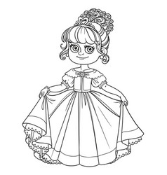 Beautiful little princess curtsies outlined for vector