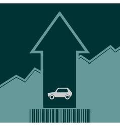 Car icon on grow up arrow and bar code vector