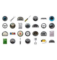 car parts icon set cartoon style vector image