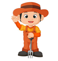 cartoon farmer holding a rake vector image vector image