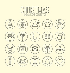 Christmas Linear Icons vector image