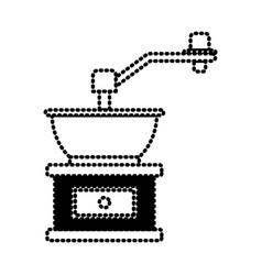 Coffee grinding with crank silhouette dotted vector