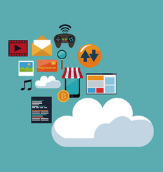 color background of cloud storage with icons vector image vector image