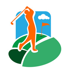 color vintage golf club emblem vector image
