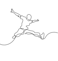 Continuous line drawing happy jumping man vector