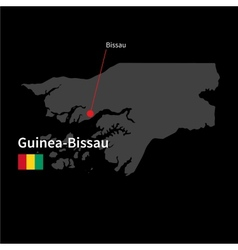 Detailed map of Guinea-Bissau and capital city vector image vector image
