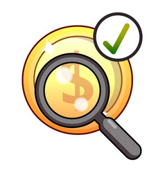 Dollar searching icon flat style vector