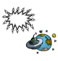 flying saucer and planet-100 vector image