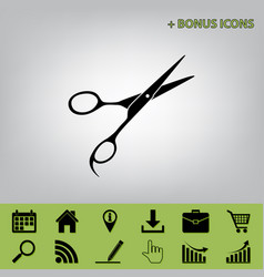 Hair cutting scissors sign black icon at vector