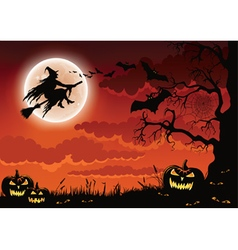 Halloween wicked witch background vector