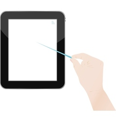 hands holding digital tablet vector image