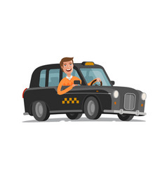 Happy driver is driving taxi passenger vector