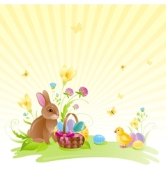 Happy easter square banner border spring vector