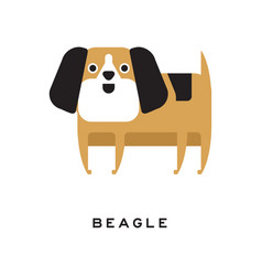 Little brown beagle puppy with long ears in flat vector