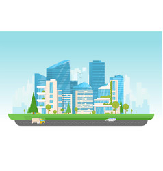 Modern city with cars vector