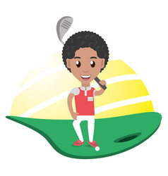 Pretty woman athlete playing golf vector
