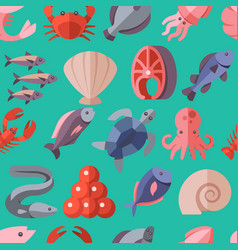 Seafood delicacies and cooking fish flat vector