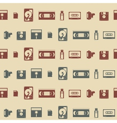 Seamless background with data storage icons for yo vector image